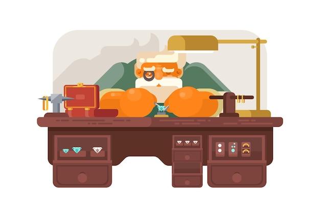 Vieux bijoutier à l'illustration du lieu de travail