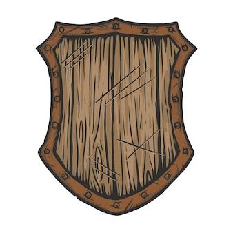 Vieux bouclier en bois