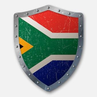 Vieux bouclier avec drapeau de l'afrique du sud