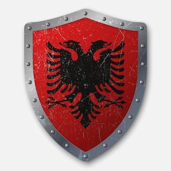 Vieux bouclier avec drapeau de l'albanie