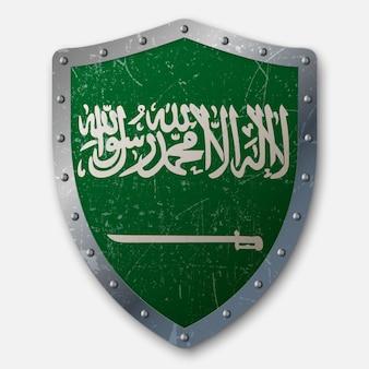 Vieux bouclier avec drapeau de l'arabie saoudite