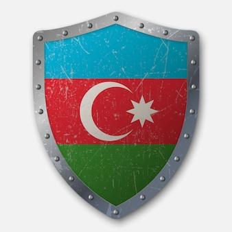 Vieux bouclier avec drapeau de l'azerbaïdjan
