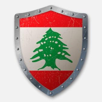 Vieux bouclier avec drapeau du liban