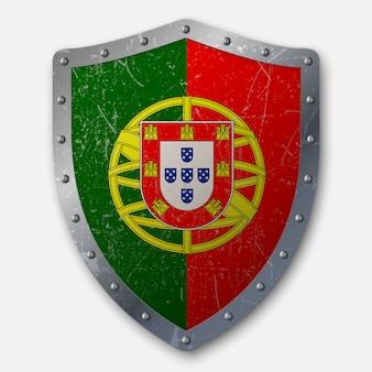 Vieux bouclier avec drapeau du portugal