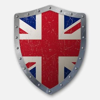 Vieux bouclier avec drapeau du royaume-uni