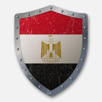 Vieux bouclier avec drapeau de l'egypte