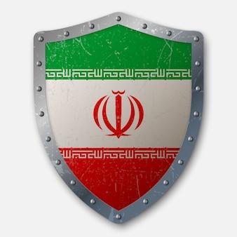 Vieux bouclier avec drapeau iranien