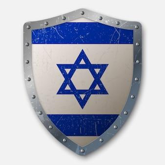 Vieux bouclier avec drapeau d'israël