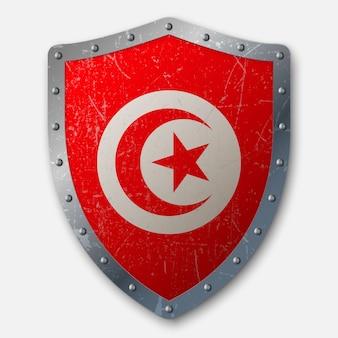 Vieux bouclier avec drapeau de la tunisie