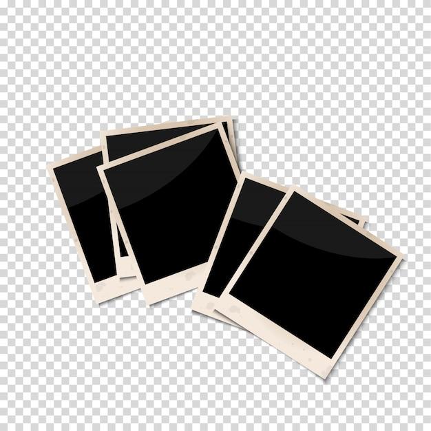 Vieux cadres photo isolés sur fond transparent