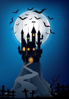 Vieux château dans la nuit halloween