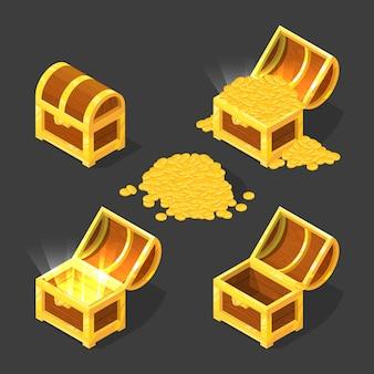 Vieux coffre en bois, fermé et ouvert, avec de l'or et différents trésors.