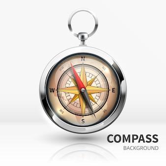 Vieux compas de navigation vecteur réaliste isolé.