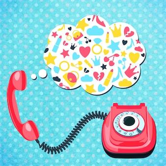 Vieux concept de conversation téléphonique