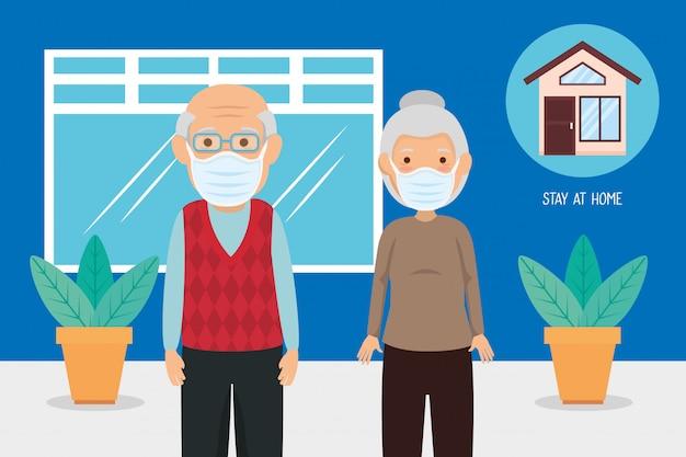 Vieux couple à l'aide de masques pour la pandémie de covid19
