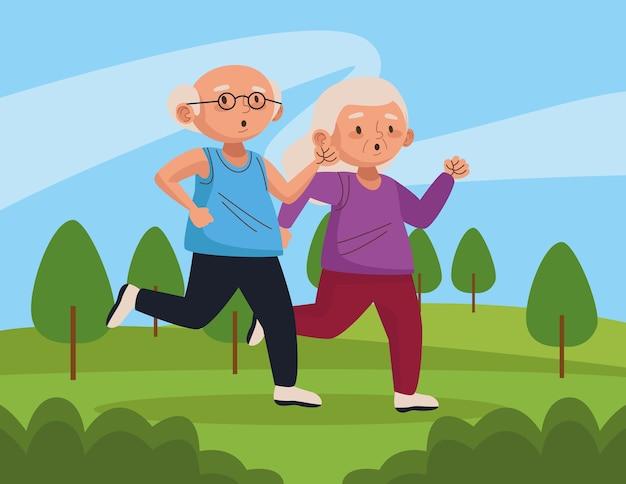 Vieux couple en cours d'exécution dans le parc personnages seniors actifs