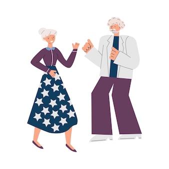 Vieux couple dansant isolé sur blanc