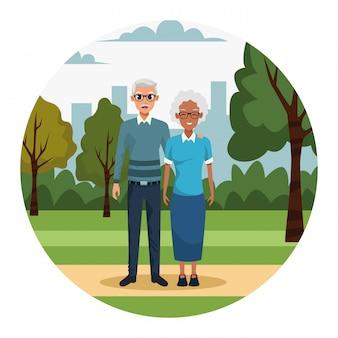 Vieux couple de dessin animé dans le parc