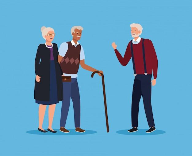 Vieux couple ensemble et homme avec bâton de marche