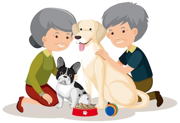 Vieux couple avec leurs chiens sur fond blanc