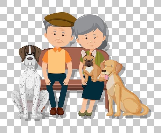 Vieux couple avec leurs chiens isolés sur transparent