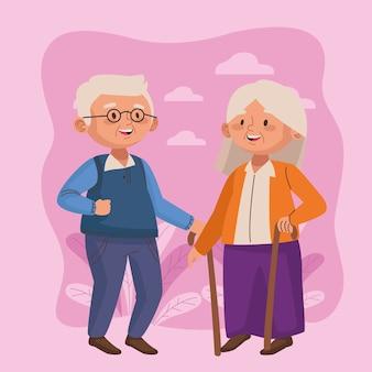 Vieux couple marchant avec des cannes scène de personnages seniors actifs