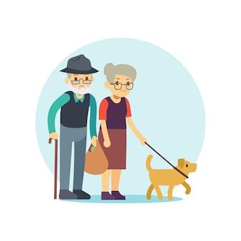 Vieux couple marchant avec un chien mignon. personnage de dessin animé de la famille eldery