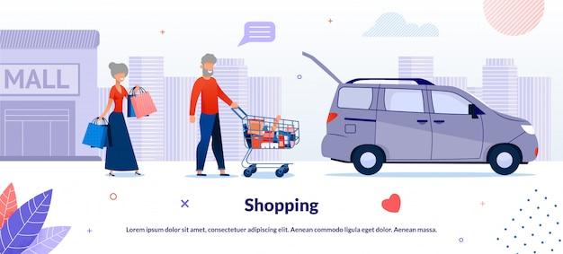 Vieux couple marié, shopping dans l'illustration de supermarché