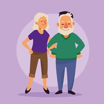 Vieux couple de personnages seniors actifs.