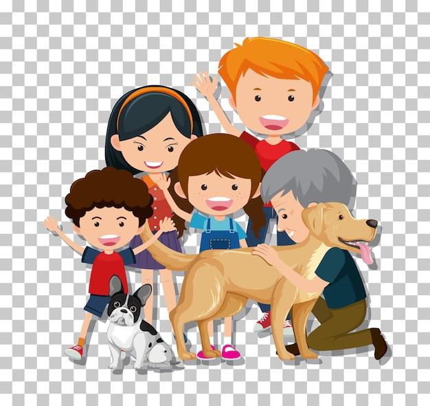 Vieux couple et petit-enfant avec leurs chiens de compagnie isolés sur fond transparent
