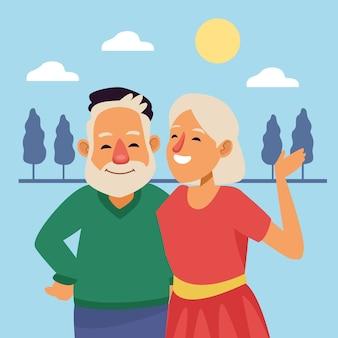 Vieux couple scène extérieure personnages seniors actifs.