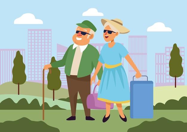 Vieux couple avec valises personnages seniors actifs.