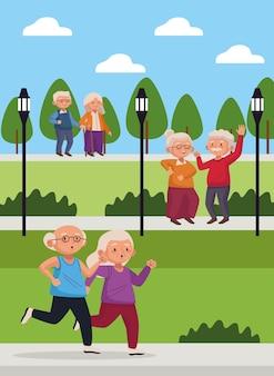 Vieux couples dans le parc scènes personnages seniors actifs