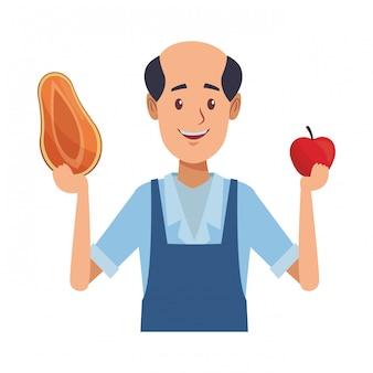 Vieux dessin animé homme d'épicerie