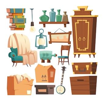 Vieux dessin animé de meubles rétro, intérieur de salon