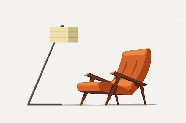 Vieux fauteuil moderne orange avec lampe