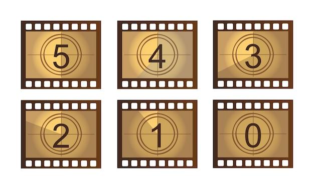 Vieux film compte à rebours isolé sur blanc vecteur de motif