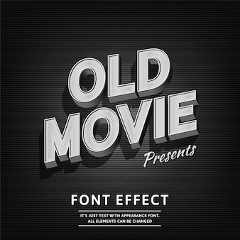 Vieux film vintage 3d style noir typographie rétro