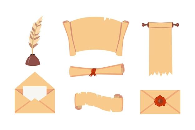 Vieux jeu de défilement de papier. script de document rétro avec copyspace. illustrations vierges et lettre vintage.