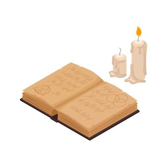 Vieux livre magique et deux bougies de cire isométriques isolées
