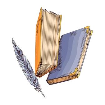 Vieux livre. vecteur vieux papier à lettres avec plume antique vintage. papier parchemin ancien