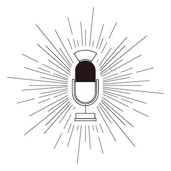 Vieux microphone affiche isolé