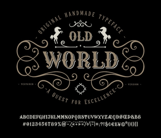 Vieux monde vintage avec police de caractères artisanale