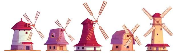 Vieux moulins à vent en pierre vintage