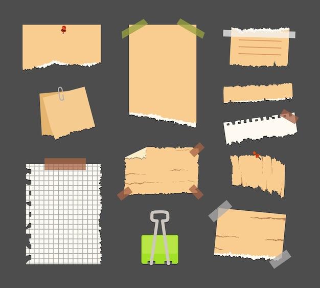 Vieux papier déchiré avec bord irrégulier. collection de papiers de note vintage. illustration.