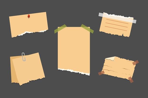 Vieux papier déchiré avec bord irrégulier. collection de papiers de note vintage.