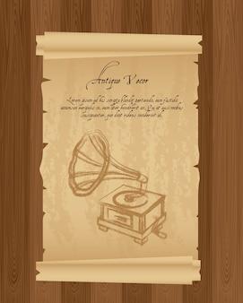 Vieux papier avec illustration vectorielle gramophone grunge