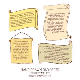 Vieux papiers dessinés à la main