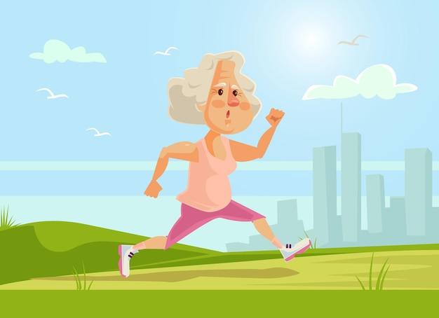 Vieux personnage de femme de sport en cours d'exécution mode de vie sain