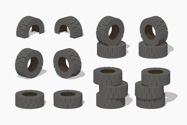 Vieux pneus en caoutchouc isométrique lowpoly 3d
